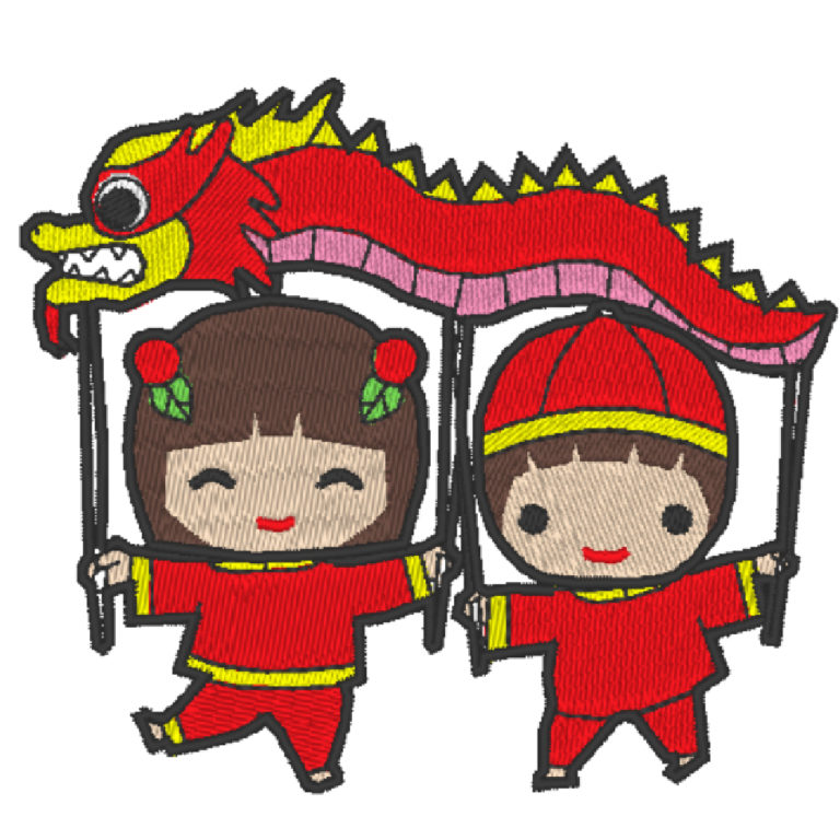 Chinese Lion Dance Act 9 (Hoop Size : 10×10 cm )
